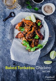 Baked Tonkatsu Chicken: Chicken wings get a Japanese updo with the delicious tonkatsu sauce Tonkatsu Sauce, Baked Chicken, Chicken Recipes, 2020 Olympics, Updo, Chicken Wings, Japanese, Meat
