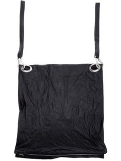 Black leather bag from Barbara I Gongini featuring crinkle effect leather, shoulder bag or rucksack.