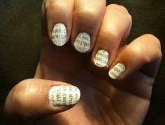 Newspaper print nails