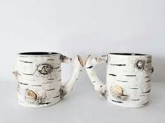 Vintage ceramic birch coffee mug