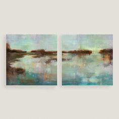 Abstract Waters Diptych I and II by Elinor Luna