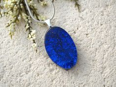 Petite Cobalt Blue Necklace, Oval Necklace, Dichroic Glass Pendant, Dichroic Fused Glass Jewelry ,Glass Necklace,Silver Necklace, 070415p109 by ccvalenzo on Etsy