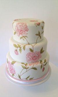 beautiful hand-painted wedding cake from Petit Gateau Wedding Cakes.