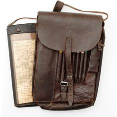 German WWII Leather Map Case - Cowan's Auctions ❤ liked on Polyvore featuring bags, fillers, accessories, purses, steampunk, brown bag, real leather bag, leather bags, genuine leather bag and brown leather bag