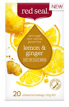 Packaging design. Watercolour art illustration by Sarah Larnach. Red Seal tea. Lemon ginger