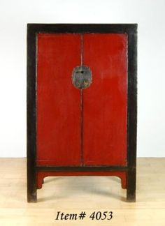 Chinese Red & Black Lacquer Cabinet #fengshui #red