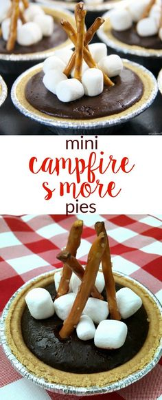 Mini Camfire S'more Pies | S'more desserts | Camping Desserts | Easy No Bake Desserts | Chocolate S'mores | http://www.madewithhappy.com