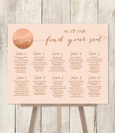 10% OFF with coupon code PIN10 ~ Wedding Seating Chart Sign DIY // Rose Gold by JadeForestDesign
