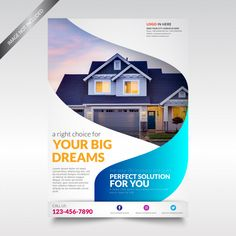 Design Cover Flyer And Brochure Business Template For Annual Report Template Flyer, Brochure Templates Free Download, Real Estate Flyer Template, Flyer Design Templates, Business Templates, Real Estate Advertising, Real Estate Flyers, Real Estate Ads, Real Estate Banner