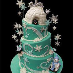 Click to enlarge Winter Wonderland First Birthday Cake