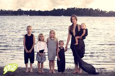 Mother and her five children by the sea shore. With Helena Vartiainen