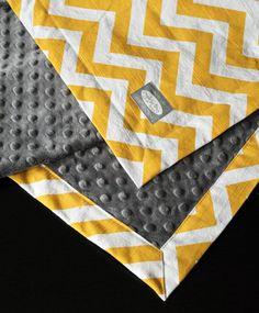 Baby Blanket - Yellow Zigzag with Gray minky baby blanket. $36.00, via Etsy.