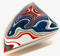 Button ~ Fordite Top, Blue Glass Base with Faceted Glass Pieces Laminated Together - Made By KPHoppe - Medium by KPHoppe on Etsy Thing 1, Enamel Paint, Car Painting, Faceted Glass, Detroit, Agate, Take That, Carving, Buttons