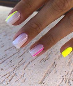 Short Square Acrylic Nails, Short Square Nails, Acrylic Nails Coffin Short, Pink Acrylic Nails, Yellow Nails, Red Tip Nails, Short Gel Nails, Pink Nail, Chic Nails