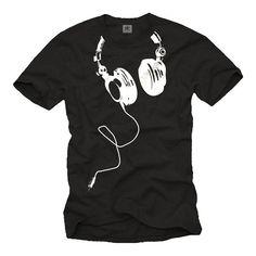 Coole Dj T-Shirts mit KOPFHÖRER schwarz Größe S