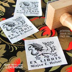 Dragon: personalised rubber stamp 3x3 cm  https://www.etsy.com/shop/lida21?ref=hdr_shop_menu