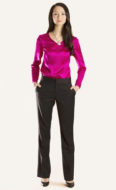 The Essential Long-Sleeved V-Neck Blouse #silk #businesswear #workingwardrobe #suiting #blouse
