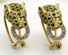 Antique C. 1950 Deco 14k Gold .96 Ct Emerald .24 Ct Diamond Panther Earrings! in Jewelry & Watches, Vintage & Antique Jewelry, Fine, Art Nouveau/Art Deco 1895-1935, Earrings | eBay