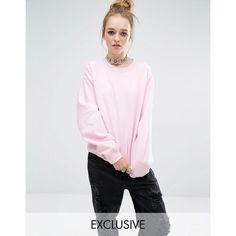Reclaimed Vintage Oversized Boyfriend Sweatshirt ($44) ❤ liked on Polyvore featuring tops, hoodies, sweatshirts, lightpink, reclaimed vintage, fitted tops, oversized sweatshirts, oversized tops and pink sweatshirts