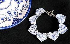BLUE AND WHITE Shrink Plastic Bracelet