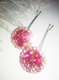Pink Crystal Rhinestone Hair Pins--refashioned from vintage clip on earrings   (vintage designer Weiss earrings-well  made!!)  $42.00