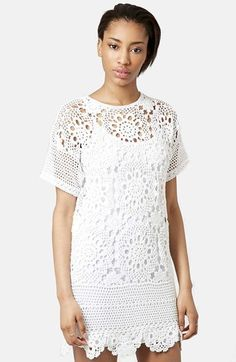 "Topshop Short Sleeve Crochet Dress Exquisite, hand-stitched patterns distinguish an openwork crochet shift dress left unlined for a cool, airy spring style that doubles as a lightweight cover-up.  32"" length (size Medium). Base layer shown not included. 100% cotton. Machine wash warm, line dry. By Topshop; imported."