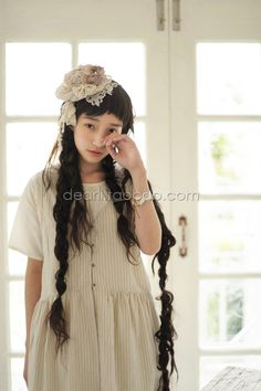 Beautiful mori girl! ~~ Could do with a mid-length bob and long fake braids. :) Will try this!