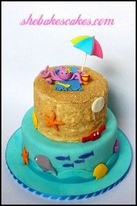 another two tiered fondant beach cake