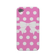Pink Polka Dot Bow iPhone 4 Case from Zazzle.com