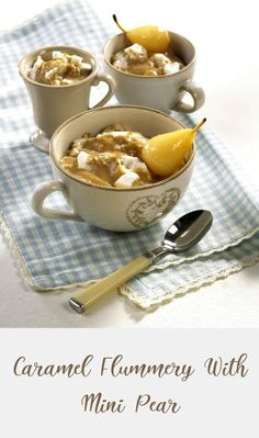 Flummery, Caramel Pudding, Everyday Dishes, Group Meals, Snowflakes, Pear, Tea Cups, Easy Meals, Eggs