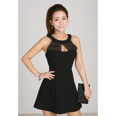 Sexy Sleeveless Solid Color Voile Splicing Women's Party Dresses, BLACK, ONE SIZE in Club Dresses | DressLily.com