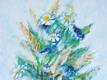 Blumen Malerei, 11,9 x 18,5 cm, Acryl