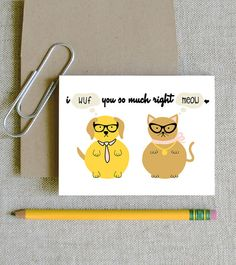 I wuf you so much right meow funny clever dog and cat card for love friends birthday card for kids and pet lovers