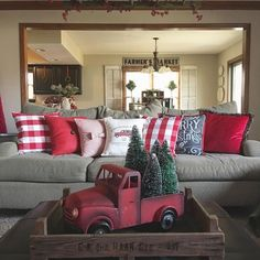 Farmhouse Christmas Decorations - Rustic Christmas Decor Ideas that Brings Back The Traditional Festive Vibe In Your Home Plaid Christmas, Winter Christmas, Christmas Vacation, Christmas Lights, Red Christmas Trees, Christmas Truck With Tree, Merry Christmas, Christmas Pillow, Christmas Pictures