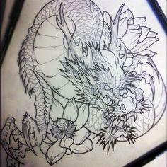 Эскиз восточного дракона с лотосом