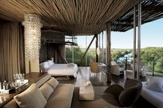situated in the Kruger National Park, Singita Lebombo is a luxury design safari lodge. Singita Lebombo Lodge in South Africa offers stylish modern suites. Cabana, Parc National Kruger, African Interior Design, Estilo Colonial, Game Lodge, Game Reserve, Suites, Home And Deco, Home Interior