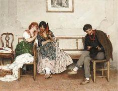 Artwork by Eugene de Blaas, Secrets, 1884. Made of oil on canvas