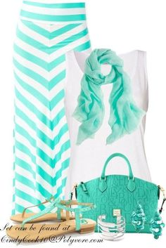 LOVE MAXI SKIRTS! White shirt with a striped mint green maxi skirt and but of course a purse to match and scarf and sandals etc.