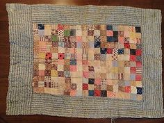 Antique Vintage Early 1900's Postage Stamp Doll Quilt in Antiques, Linens & Textiles (Pre-1930), Quilts | eBay