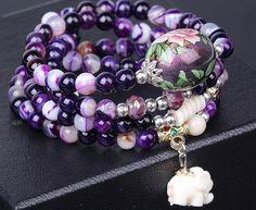 Purple stripes coloured drawing beads rain flower agate stone bracelet necklace #Unbranded