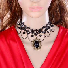 Ретро черные кружева женский короткий ожерелье Европы преувеличенными кисточкой ожерелье аксессуары ключицы широкая сеть Taobao рекламной к 2015 году,