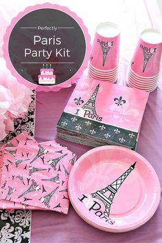 This Perfectly Paris Party Kit is perfect for a Parisian Bakeshop party! It includes large and small Paris Birthday Cakes, Paris Themed Birthday Party, 13th Birthday Parties, Birthday Party Themes, 10th Birthday, Birthday Nails, Birthday Ideas, Bachelorette Party Decorations, Bachelorette Parties