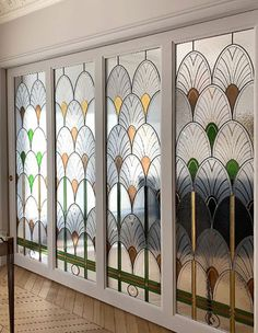 Stained Glass Door, Stained Glass Designs, Stained Glass Panels, Stained Glass Projects, Painted Glass Windows, Glass Partition Designs, Glass Partition Wall, Glass Room Divider, Art Deco Door