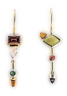 "Janis Kerman: Multistone Earrings, Earrings in sterling silver, 18k gold, tourmaline, rose quartz, citrine, beryl, Umba sapphire, and iolite. Approx 2 1/4"" long each."