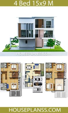 House Plans Idea with 4 Bedrooms - House Plans Sam Latest House Designs, New Home Designs, 3d House Plans, Three Bedroom House Plan, Front Elevation Designs, 3d Home Design, House Construction Plan, Big Houses, Architecture Design