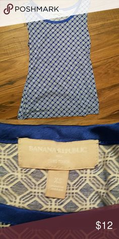 Pretty blue and white Banana Republic tank This tank looks great with a  white or blue sweater Banana Republic Tops Tank Tops
