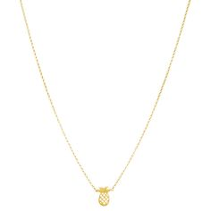 open pineapple necklace, gold dipped