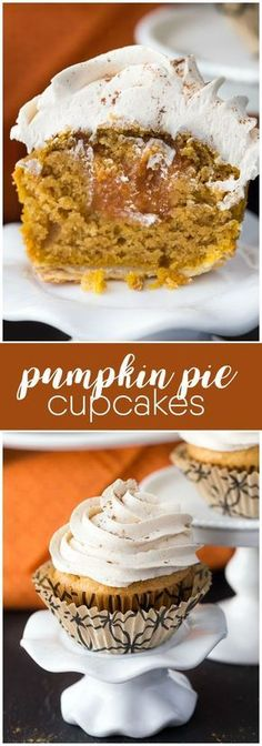 Pumpkin Pie Cupcakes - Tastes like a piece of pumpkin pie, but in a cupcake form! It even has a pie crust at the bottom and sweet pumpkin pie filling inside.