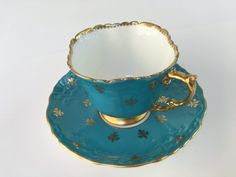 Fleur de Lis Aynsley Tea Cup and Saucer, Aqua Gold Cup, Antique Tea Set, Antique Tea Cups, Antique Teacups, English Vintage Tea Cups by AprilsLuxuries on Etsy