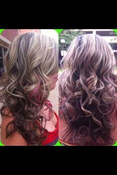 Highlights w a peek-a-boo hot pink streak -hair by heather Timberlake